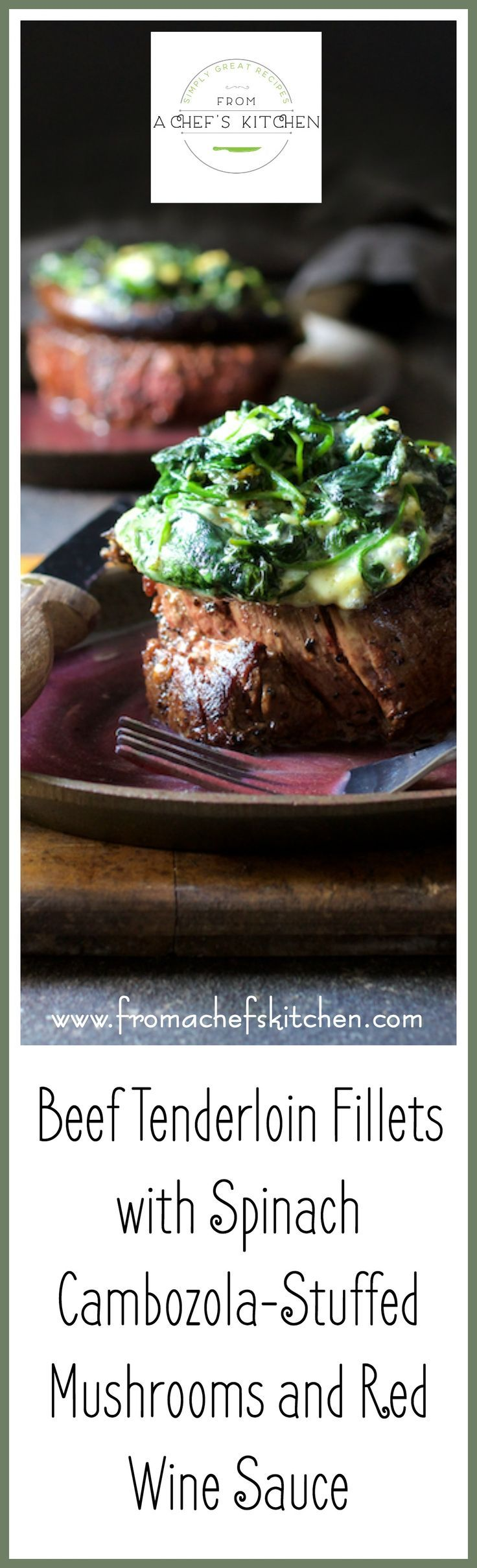 "This ""over-the-top"" Beef Tenderloin Fillets with Spinach Cambozola Stuffed Portobello Mushrooms and Red Wine Sauce is entree and side dish all in one. via @chefcarolb (Low Carb Pork Mushroom Sauce)"