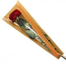 Bolsa Senyera CLASIC-50 con fondo YUTE 6x18x48  1000 unidades.  BOLSAS PARA SANT JORDI, bolsa cono para la rosa se Sant Jordi, bolsas con bandera catalana, bolsa con Senyera per la rosa, bolsas con bandera andorrana, cono para la diada, bolsas de celofan para flores, bolsa para Sant Jordi personalizadas. BOLSAS PARA LA ROSA DE SANT JORDI AL MEJOR PRECIO