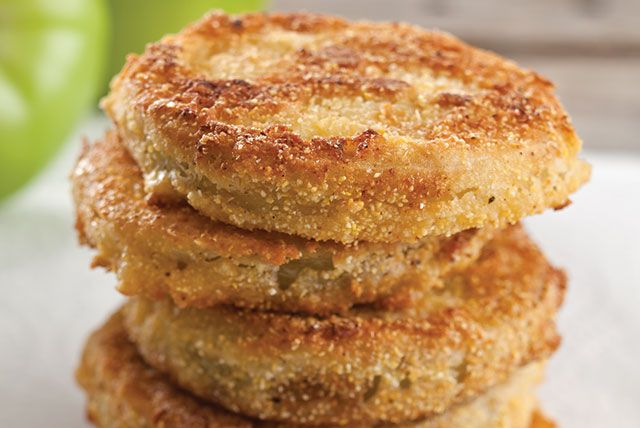 """When you make Fried Green Tomatoes, the salt pulls the water out of the tomatoes so that you don't end up with soggy breading. Let the salted tomatoes stand for at least 30 minutes or up to 8 hours. The longer they stand, the drier they'll get."" — Paula"