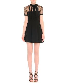 W05FH Valentino Lace-Inset Ruffled-Bib Dress