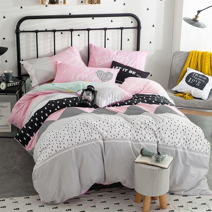 fashion style bedlinens 100% cotton fabric Queen size bedding set duvet cover+flat sheet+pillowcases