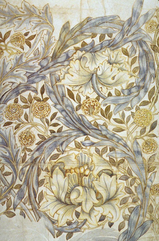 William Morris. Silver grey, golden brown, creamy ivory