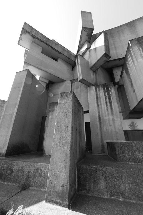"Fritz Wotruba: ""Wotruba Church"" or ""Kirche zur Heiligsten Dreifaltigkeit"", Vienna, 1974-76. Built on the basis of a model by the sculptor - who died before the completion."