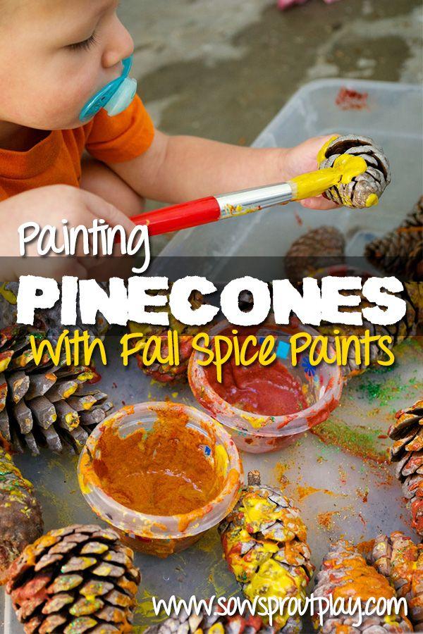 Sensory Play – Painting Pinecones with Spice Paints  #fall #homeschool #artforpreschoolers