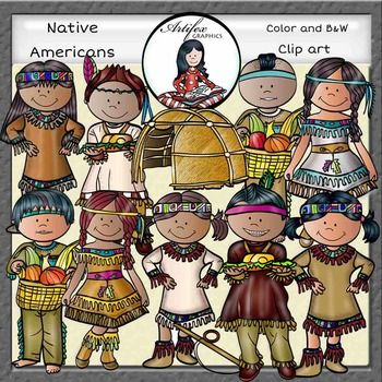 (Thanksgiving clip art)Native Americans Clip Art set features 20 items: 11 clip arts in color. 9 clip arts in black & white.All images are 300 dpi, Png files.This clipart license allows for personal, educational, and commercial small business use.