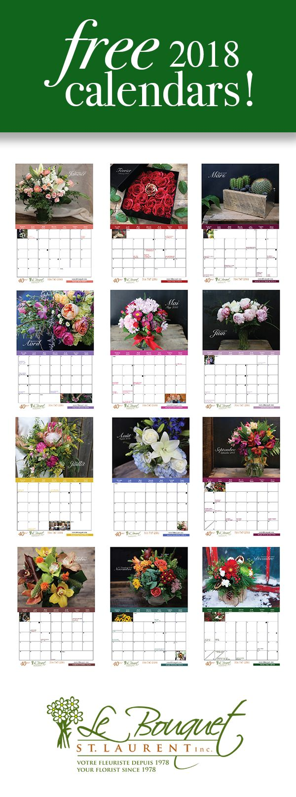 Free downloadable calendars from Montreal based flower shop Le Bouquet St Laurent. Two different calendars!