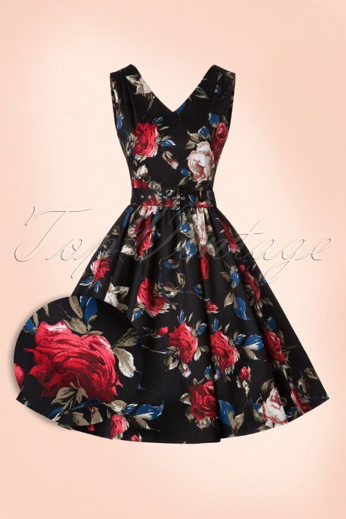 Dolly and Dotty 50s Petal Roses Swing Dress in Black