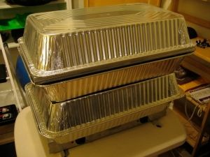 Vacuum Forming Oven - Homemade vacuum forming oven powered by a two-burner hot plate. Constructed from aluminum pans, grill toppers, and binder clips.