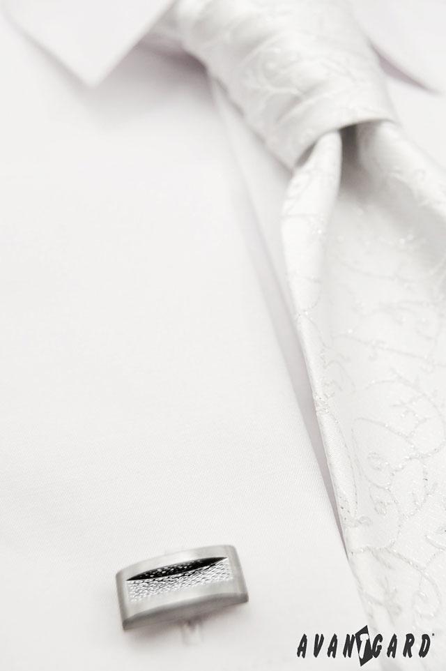 Pánská svatební košile se zdobenou svatební regatou a manžetovými knoflíčky  AVANTGARD   ///   White wedding mens shirt, white wedding tie, cufflinks AVANTGARD.