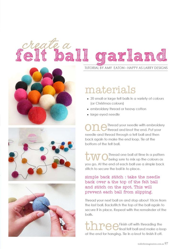 tickle the imagination | a handmade christmas. Felt ball #garland #tutorial