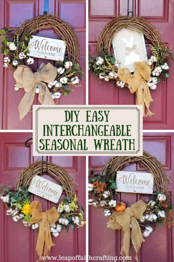 Easy Diy Interchangeable Seasonal Wreath Easy Diy Wreaths Seasonal Wreaths Diy Seasonal Wreaths
