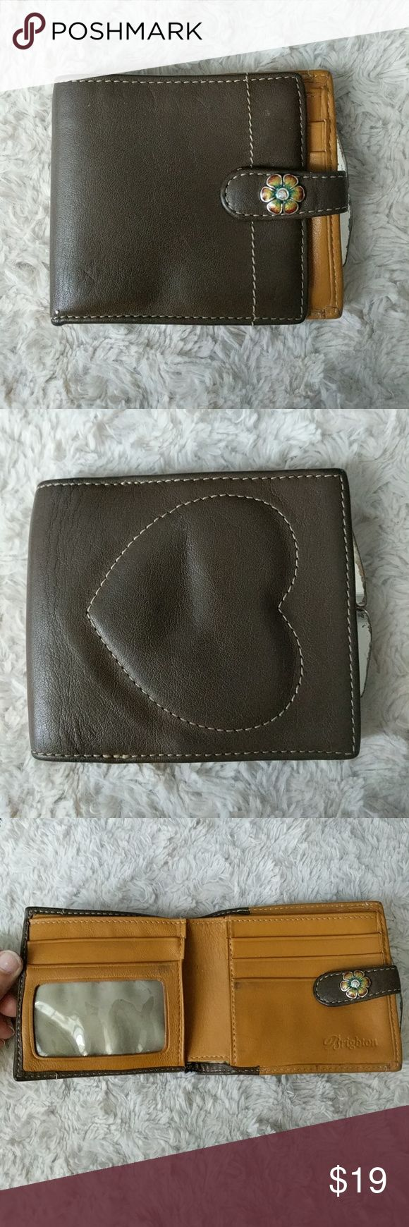 Brighton wallet Brown and hide colored leather wallet with heart accent and flower snap Brighton Bags Wallets