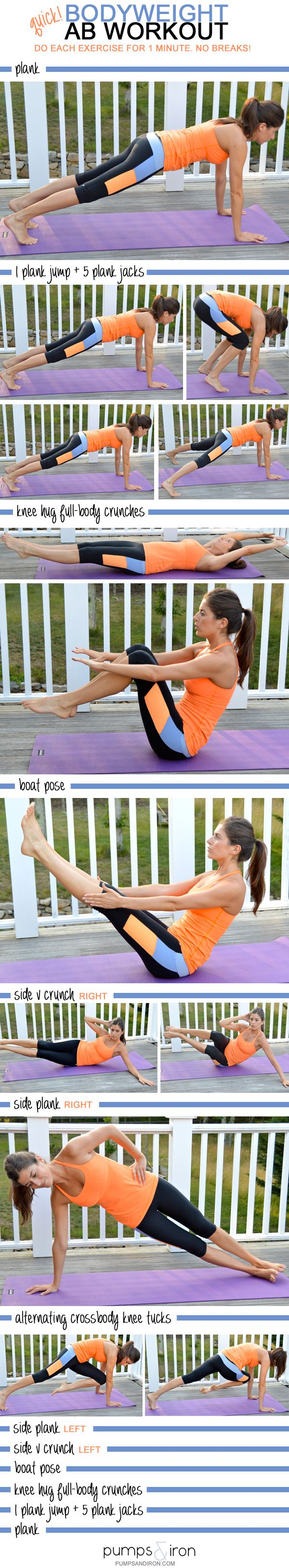 Quick Bodyweight Ab Workout -- takes just 13 minutes and requires no equipment