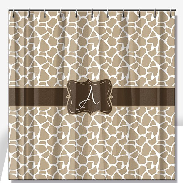 Personalized Shower Curtain Giraffe Print   Lime Rikee Designs