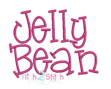 Jelly Bean Machine Embroidery  Font  1 &  2 by TheItch2Stitch, $5.99