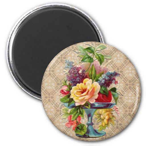 Ideal This is great for Textured vintage Floral Display Fridge Magnets Textured vintage Floral