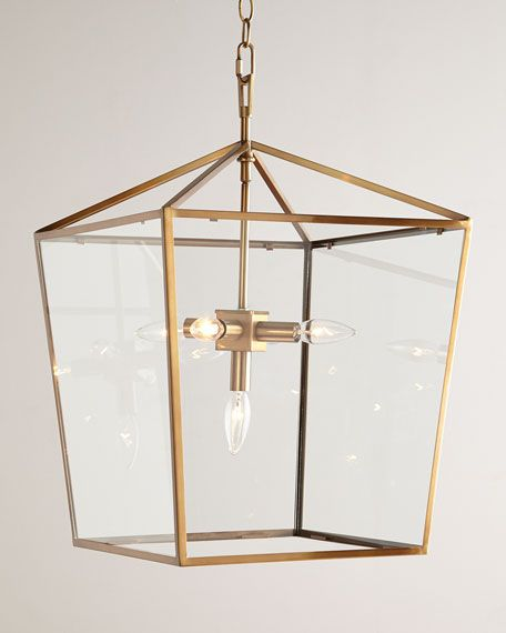 """Lantern works exceptionally well in multiples over a bar or table. Made of metal and glass. Soft-brass finish. 16.25""""Sq. x 24""""T with 6'L chain and 5""""Sq. ceiling canopy. Uses five 60-watt bulbs. Direct"""