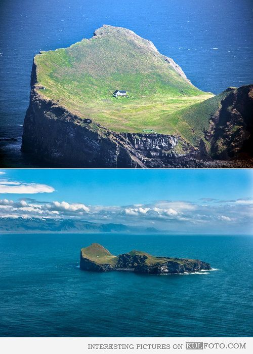 Living on an island in Iceland - Lone house on a small island near Iceland coast.