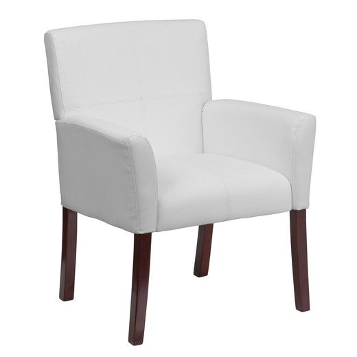 Flash Furniture White Leather Executive Side Chair or Reception Chair with Mahogany Legs BT-353-WH-GG