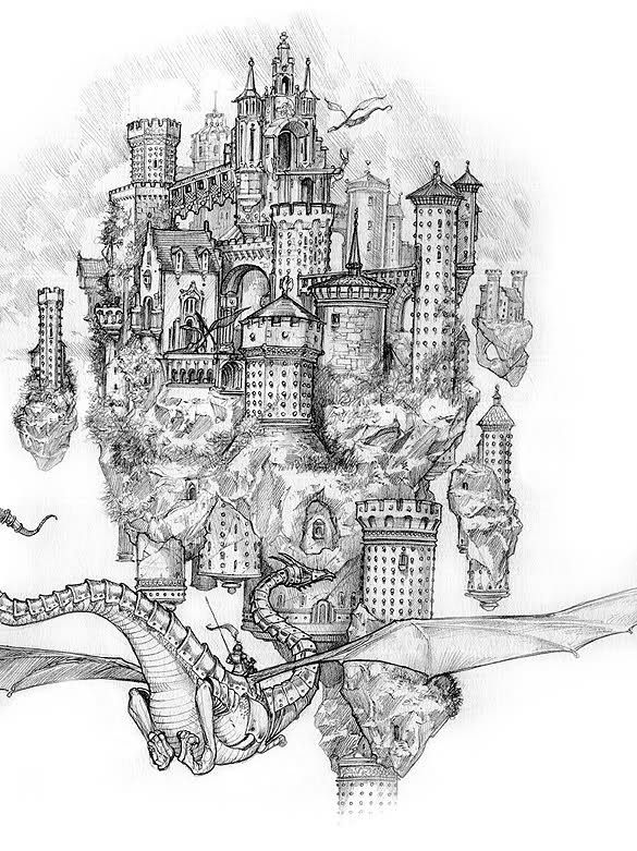 Графические фэнтезийные рисунки замков