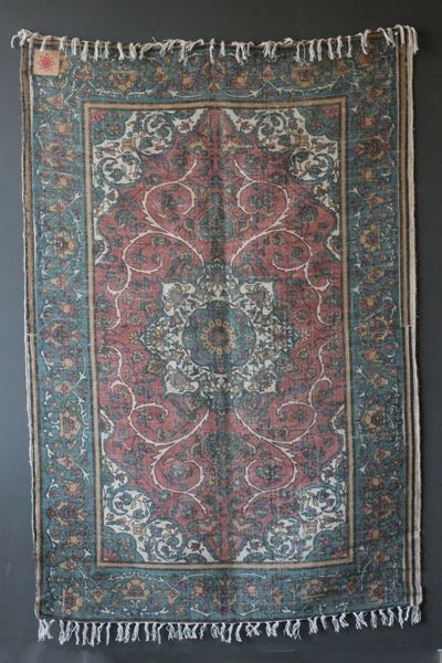 Cotton & Jute Coloured Printed Stonewashed Dhurrie - Teal - Rugs & Flooring