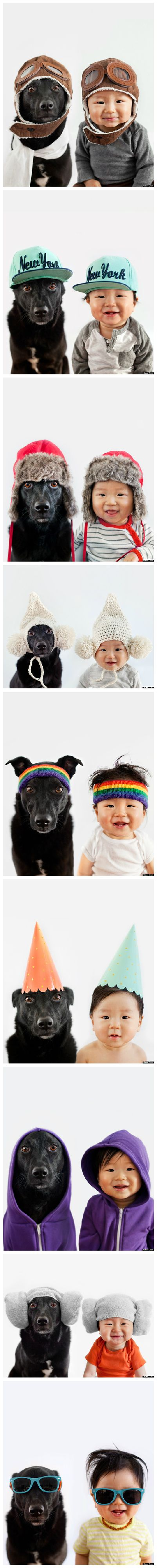 Rescue Dog And Baby BFF Are Partners In Crime AND Fashion. This is so cute! #Photography #Rescue_Dog #Baby