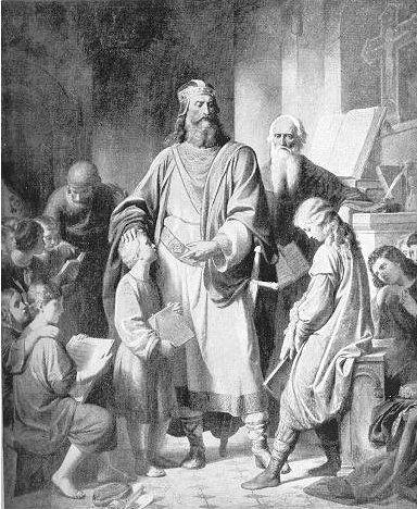 Imagen de Carlomagno,Hijo primogénito del rey de los francos, Pipino el Breve, heredó el Trono al morir su padre (768) y lo completó con los territorios orientales concedidos a su hermano Carlomán, al morir éste en el año 771.Este ejecutó la reforma de educación.