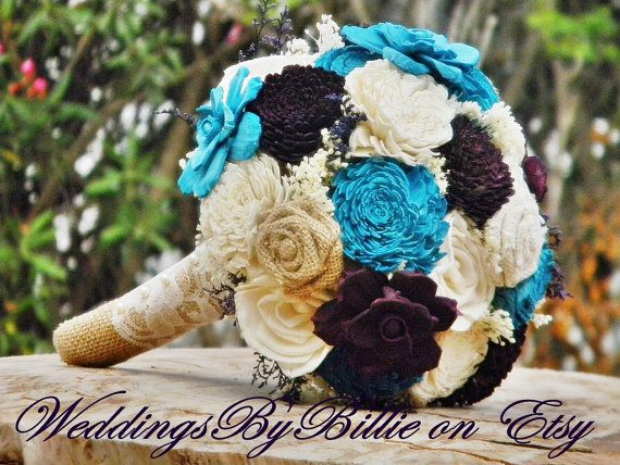 Fall Bouquets, Burlap Lace, Eggplant and Teal, Purple Teal Bouquet, Wedding Flowers, Rustic Shabby Chic,Bridal Accessories, Keepsake Bouquet