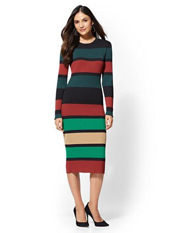 2d869da0 Shop Stripe Sweater Dress. Find your perfect size online at the best price  at New York & Company.