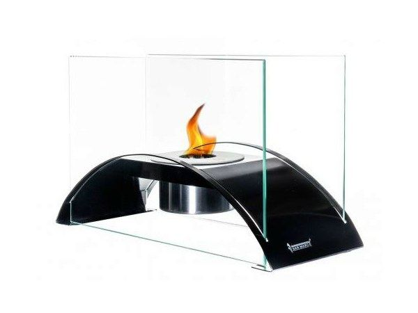 Open bioethanol fireplace with panoramic glass DINING by Gruppo San Marco