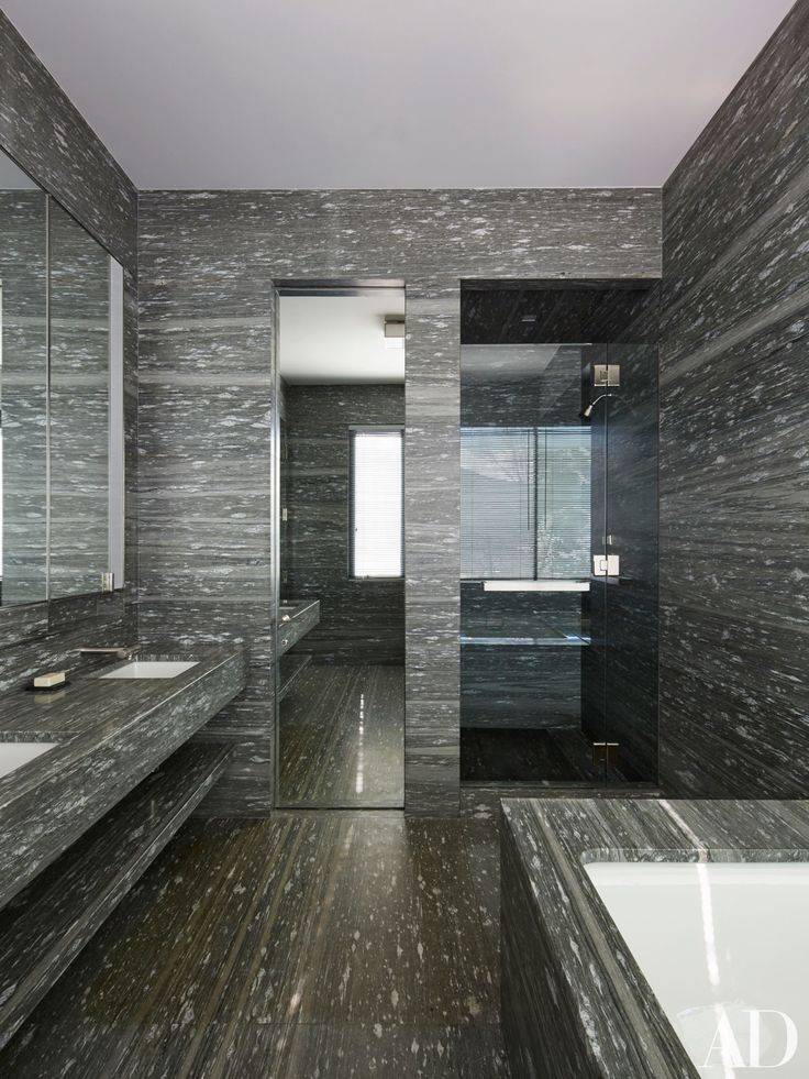 Guest bathroom in Peter Marino's home in the Rocky Mountains