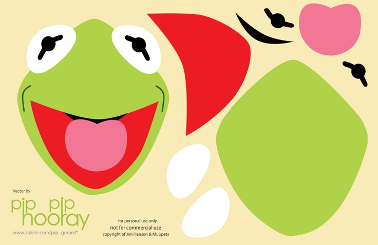 Free Kermit template printable.  use to make felt or paper masks!