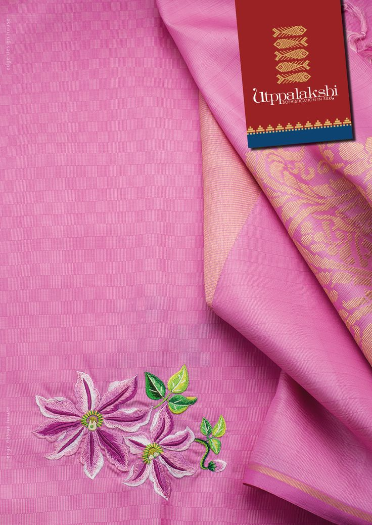 Exquisitely hand embroidered pink pai madi saree. The saree has a tissue blouse and the pallu has a large mango woven in jari. The embroidery is so neatly done that you are left wondering whether it is a painting. #Utppalakshi #Sareeoftheday #Silksaree #Kancheevaramsilksaree #Kanchipuramsilks #Ethinc #Indian #traditional #dress #wedding #silk #saree #craftsmanship #weaving #Chennai #boutique #vibrant #exquisit #pure #weddingsaree #sareedesign #colorful #elite