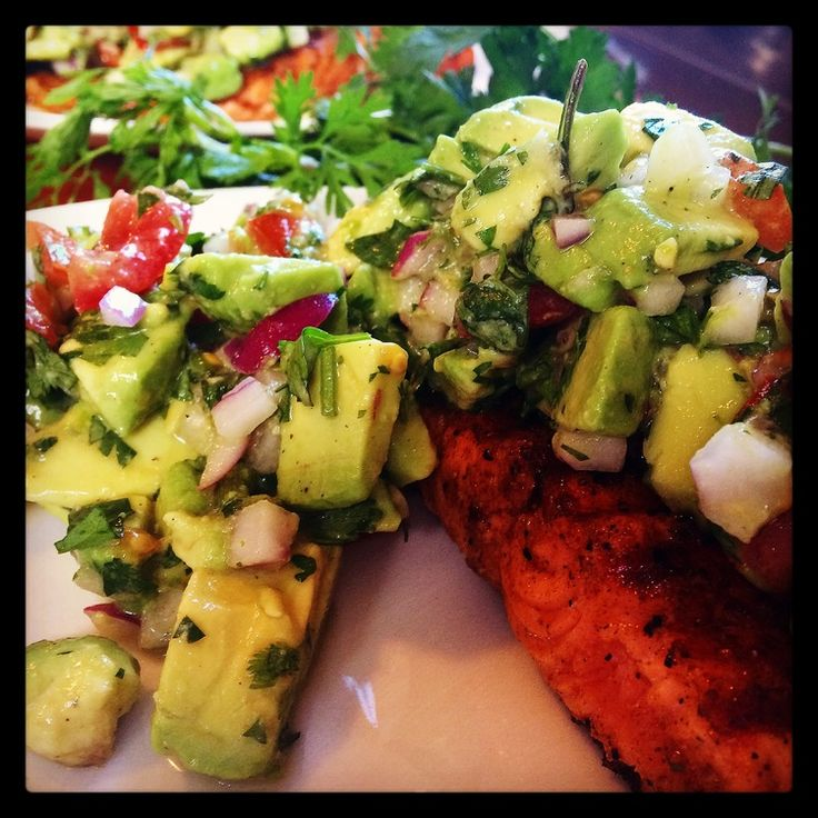 Grilled Salmon with avocado salsa   http://www.barrenz.co.nz/barre-project/