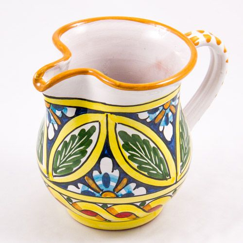 Miscellaneous: #Italy. Milk Jug from #Sicily. Leafs and Golden Ribbon. #Caltagirone #Ceramics. Hand Made. Volume 0.25L