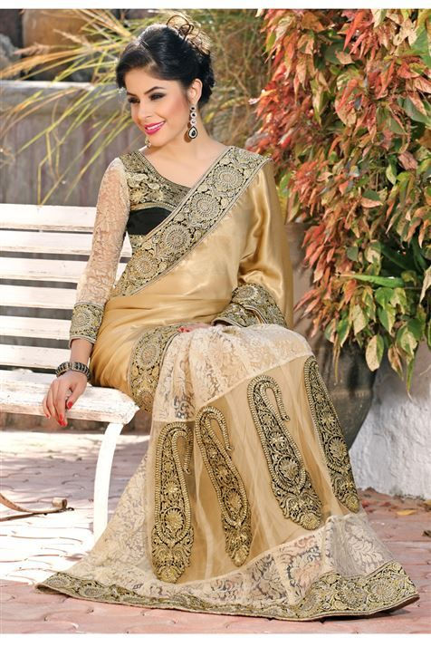 Silk, Net Cream, Off WhiteDesigner party wear sare