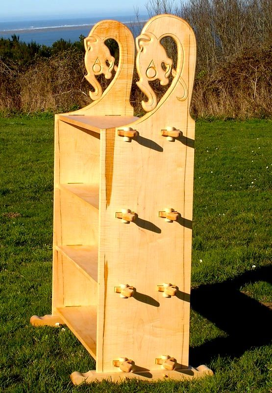 Viking style shelf. Pinned tenon joinery allows full break down of piece.