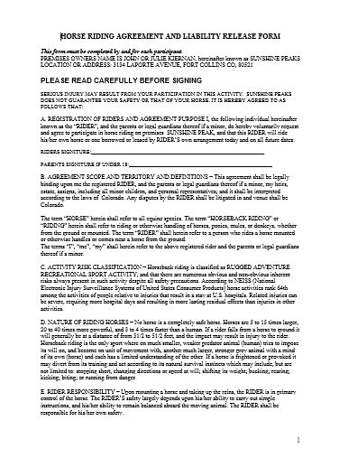 Horse Riding Agreement And Liability Release Form