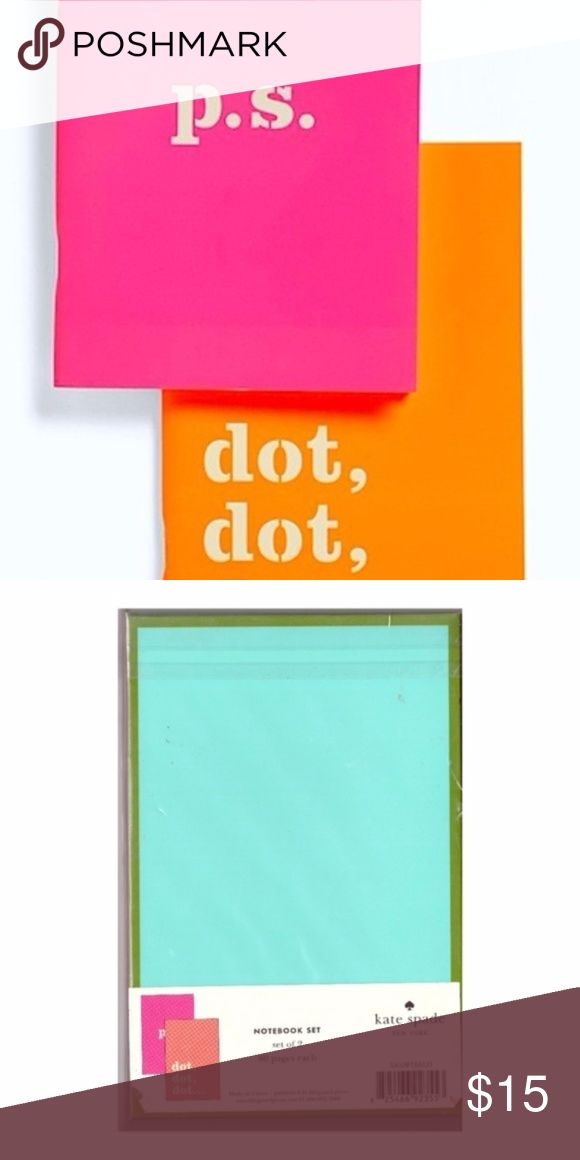"""Kate Spade Set of 2 Notebooks Kate Spade Set of 2 Notebooks  New in Package  Two Notebooks - one is hot pink with p.s. and the other is orange with dot, dot, dot words. Great for school, home, or the office- this set includes two notebooks that feature gold foil accents and 80 ivory colored pages.  SIZE: 4.5"""" high x 3"""" wide  Perfect Secret Santa or Stocking Stuffer Gift for Christmas kate spade Accessories"""