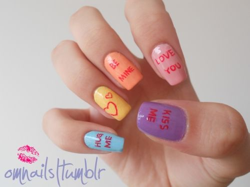 candy hearts: Sweetheart Nails, Heart Candy, Nails Art Ideas, Nails Design, Valentines Nails, Valentine'S S, Valentines Day, Candy Heart, Valentine Day Nails
