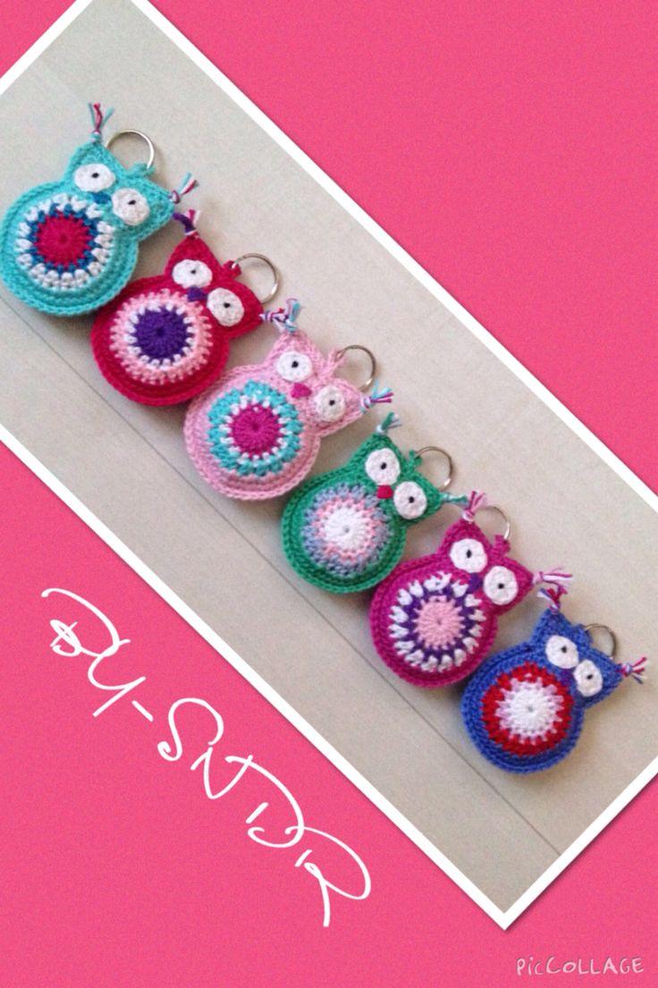 Crochet owl keyring