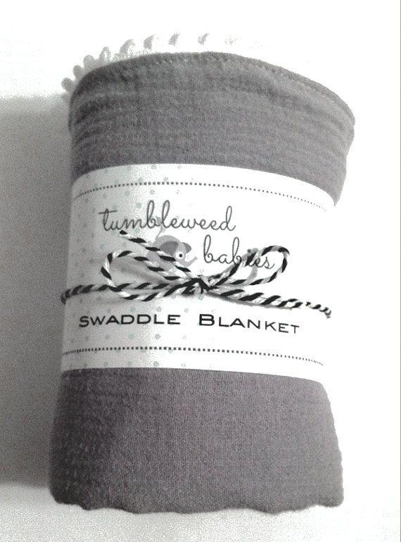 Grey Swaddle Blanket with White Pom Pom/Swaddle Blanket/Newborn Muslin Blanket