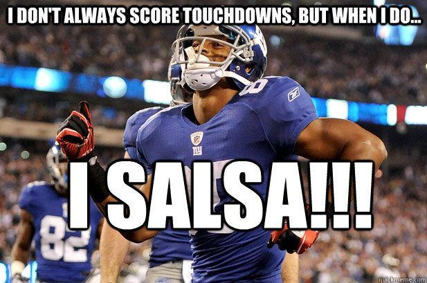 I don't always score touchdowns, but when I do, I salsa!!! –Victor Cruz