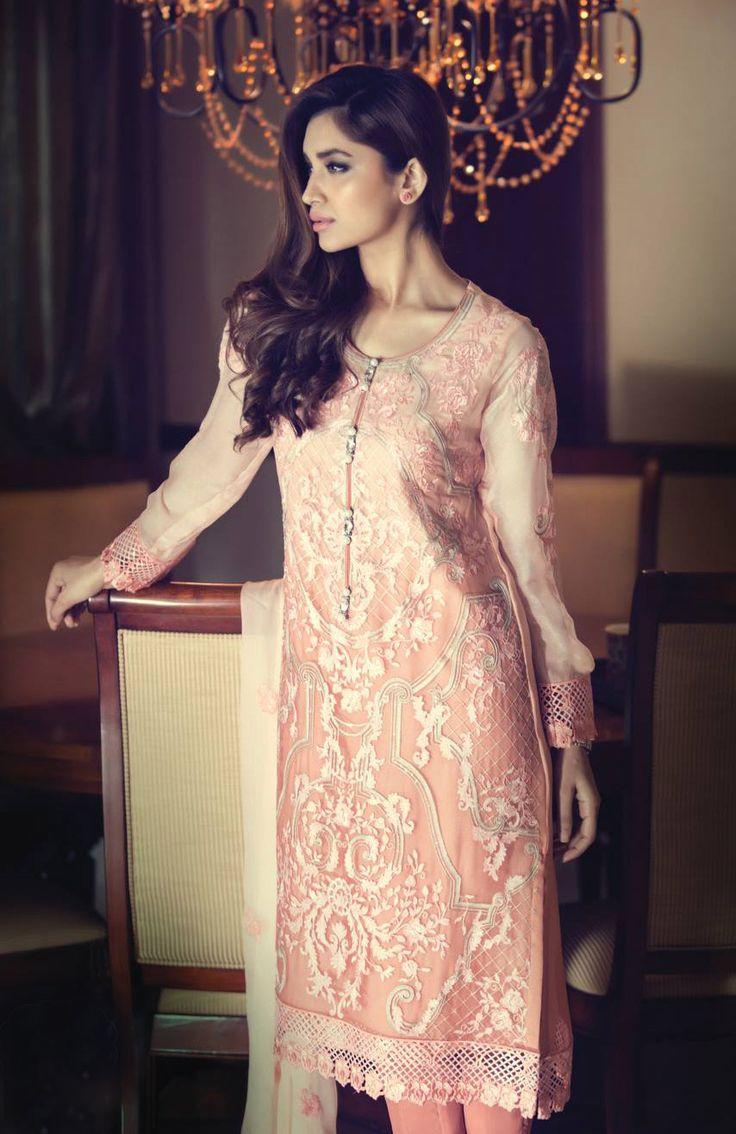 Buy Pink Embroidered Chinese Chiffon Dress by Maria B. Chiffon Collection 2015.