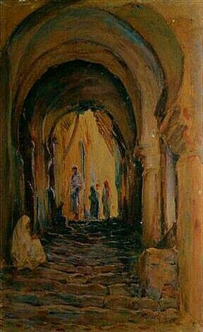 Algérie - Peintre français Alphonse BIRCK (1859-1942) , Aquarelle et gouache, Titre: La Casbah d'Alger