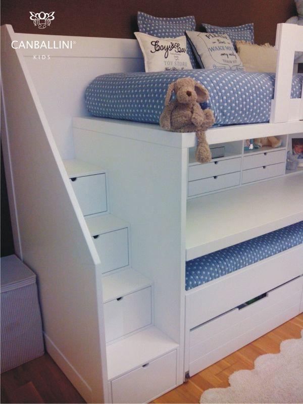 Litera con escritorio para habitaciones infantiles y juveniles literas con dos y tres camas for Habitaciones juveniles 3 camas