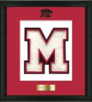 Masuk High School in Connecticut Varsity Letter Frame - Showcase your varsity letter in our Omega solid hardwood shadowbox frame in black satin finish with hand embossed Masuk High School logo, on our red and white museum quality matting. A personalized engraved plate is included.