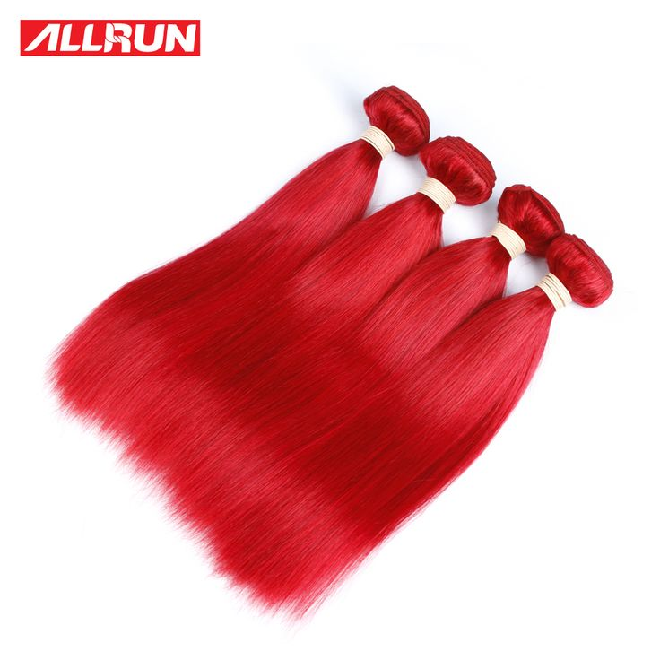 ALLRUN Peruvian Straight Human Hair Bundles #Red Color One Piece Double Weft Hair Extension Non Remy Free Shipping #Affiliate