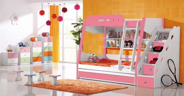Etagenbett Sahara in rosa.  #Etagenbett #Kinderbett #Bett #Rosa #Leiter #Treppe #Gästebett
