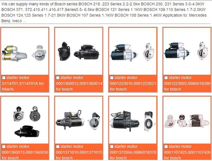 We can supply many kinds brand starter motor, such as Bosch starter, Bosch starter motor, Delco starter motor, Denso starter motor, Mitsubishi starter motor, Hitachi starter motor,Valeo starter motor,Lucas starter motor, Kubota starter motor, ISARA starter motor, Fiat starter motor, Mercedes Benz starter motor, Iveco starter motor and so on.